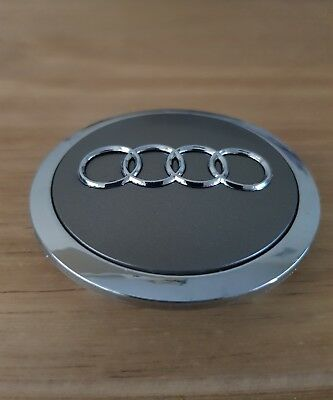 AUDI STYLE GREY & CHROME 68mm ALLOY WHEEL CENTRE CAP