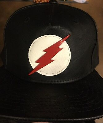 f61a8d35d3c D.C. Comics THE FLASH Suit Up Leather SnapBack Hat. NWT. One Size Fits All