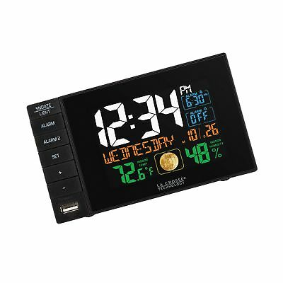 La Crosse Technology C87207 C87061 Color Dual Alarm Clock with USB Charging P...