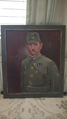 WWII Imperial Japanese Army Major Iida's Personal Oil Portrait.