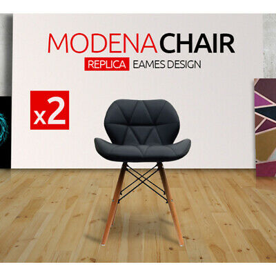 2X Eames DSW Fashion Black PU Leather Dining Chair Retro Seat bar Cafe Office