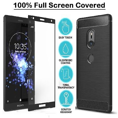 Case For Sony Xperia XZ3 XZ2 Compact XA2 XA1 L1 Case Cover + Tempered Glass Skin