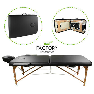 Portable 2-Fold Massage Table Bed Spa Salon Facial Tattoo Physical Therapy Black