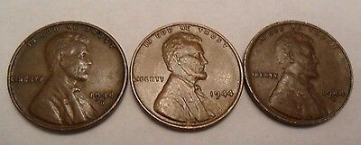 1944 P D S Lincoln Wheat Cent / Penny Set *FINE OR BETTER*  **FREE SHIPPING**