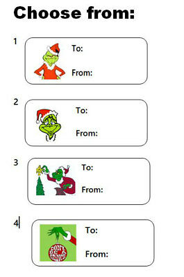 30 Grinch Gift Tags To~From How the Grinch Stole Christmas Present Label Sticker