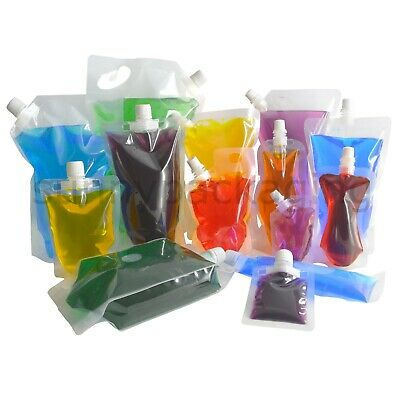 20 Pcs Transparent Spout Bags Clear Spout Pouches Flask Bags Liquid Packaging
