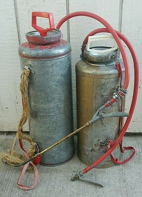 Vintage Hudson 2 gallon Metal Tank Garden/Lawn Hand Pump Sprayer Lot Of 2
