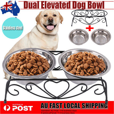 Stainless Steel Elevated Raised Pet Dog Puppy Feeder Bowl Riser Stand Dual Bowl