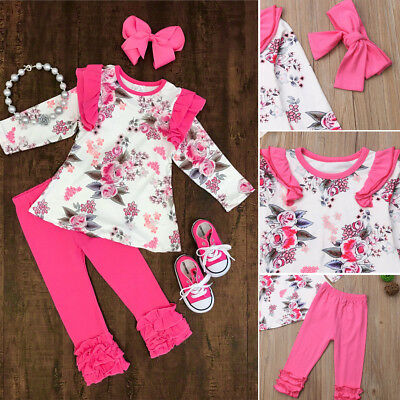 US 3PCS Newborn Toddler Baby Girl Outfits Floral Clothes Tops+Pants Headband Set