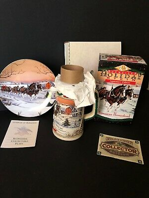 1996 Budweiser Signature Holiday Stein And Collector Plate American Homestead