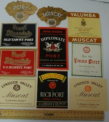 10 x VINTAGE MUSCAT & PORT FORTIFIED WINE COLLECTABLE LABELS