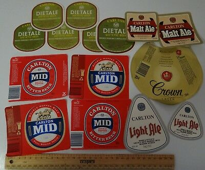 15 x COLLECTABLE CARLTON UNITED BREWRY AUSTRALIA BEER LABELS