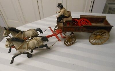 Antique 1920s/1930s Cast Iron Horse & Wagon Toy