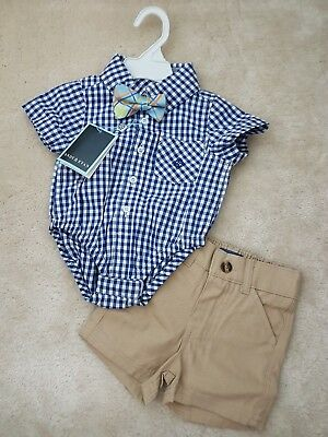 Gorgeous *New* 2 piece baby boy outfit! blue top, bow tie, shorts. 3-6 months.