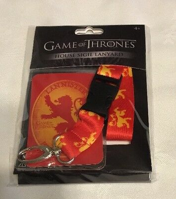 Officially Licensed Game of Thrones Lanyard ID Badge Holder HOUSE LANNISTER GoT