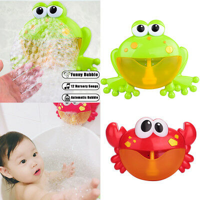 AU Baby Kids Shower Bathroom Toy Crab Bubble Maker Toys Bath Tub Fun Music Water