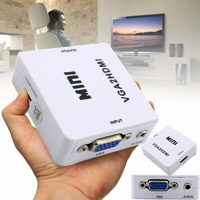 VGA to HDMI 1080P HD HDTV Video Audio Converter Box Adapter For DVD/PC/Laptop