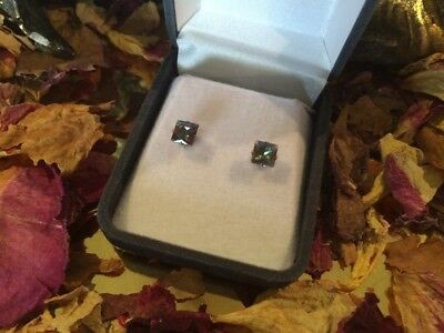 Amazing rainbow Mystic Topaz square faceted 5mm sterling silver stud earrings 👑