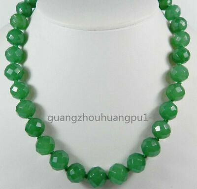 20 Inches Long. Stunning!10mm Green Emerald Faceted Round Beads Necklace