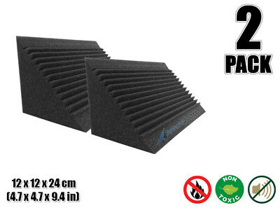 Arrowzoom 2 pcs Black Multi-Cut Bass Trap Studio Acoustic Foam 4.7 x 4.7 x 9.4""