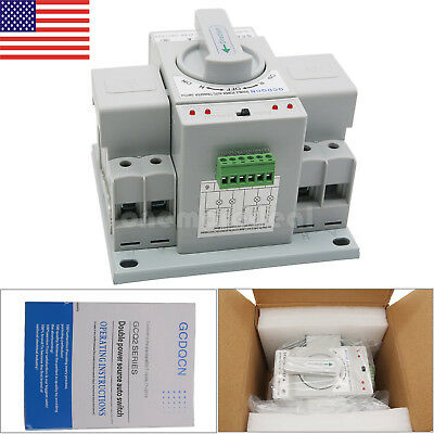 Automatic Transfer Switch 2P 63A 220V Toggle Switch Dual Power GCQ2-63/2P US