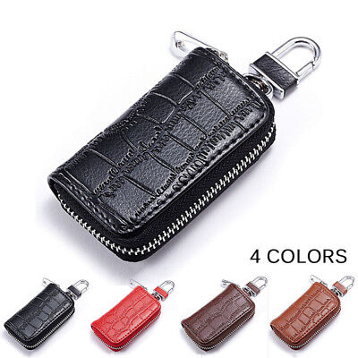 For Mercedes Benz AMG Car Key Holder Keychain Keyring Fob Bag Leather Case Cover