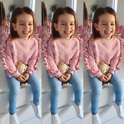 USA 2PCS Toddler Kids Baby Girls Ruffle Tops Denim Pants Winter Outfits Clothes