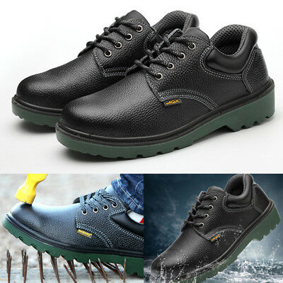 Mens Work Safety Shoes Steel Toe and Sole Leather Waterproof Acid Puncture Proof