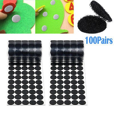 Hook and Loop Dots Tapes Self Adhesive White Coins Stick-On 100 Pairs 20mm BLACK