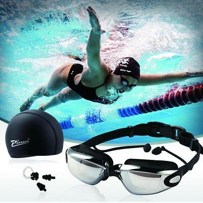 Swim Goggles With Cap Nose Clip Ear Plug Adult Anti-Fog HD Mirrored Protective #