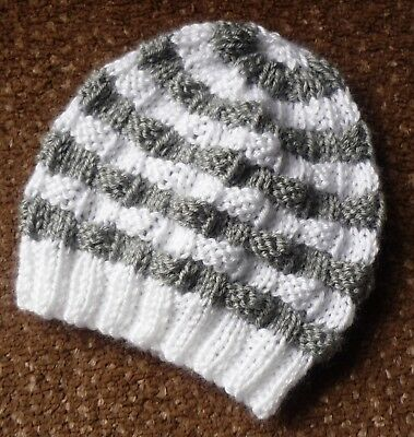 Baby Beanie. Hand-Knitted By Me- Grey And White, Boy Or Girl Baby.