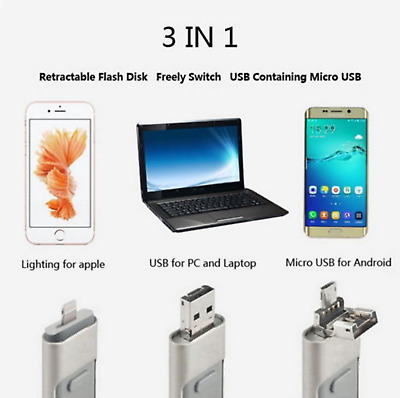 NEW 3 IN 1 USB 32 GB Memory Stick i-Flash Drive OTG Disk For iPhone iPad iOS PC