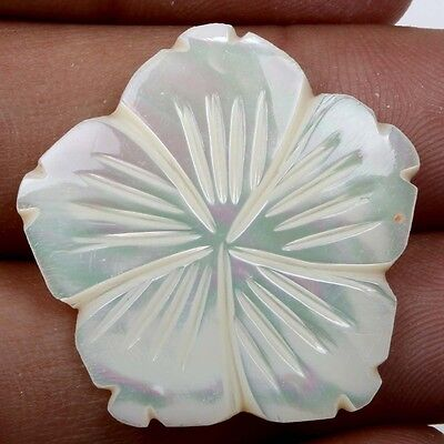 White MOTHER OF PEARL 19.5 Cts Carving Flower Flat Gemstone 28x27mm eBay S22198