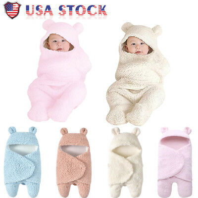 Newborn Baby Cute Cotton Receiving White Sleeping Blanket Boy Girl Wrap Swaddle