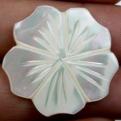 WHITE MOTHER OF PEARL Flower Carving 17.5 Carats Gemstone 27x27 mm S22203