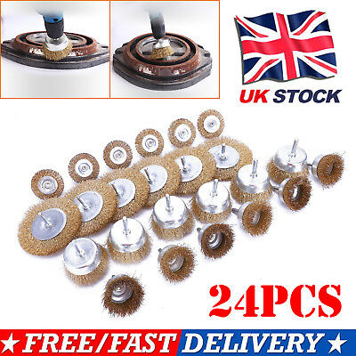 Brand New 24pc Wire Brush Set Crimped Steel Cup & Flat Brushes Drill Wheel Tools