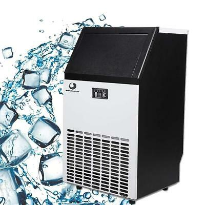 100Lb Commercial Ice Cube Maker Machine Bar Restaurant Stainless Steel Free Ship