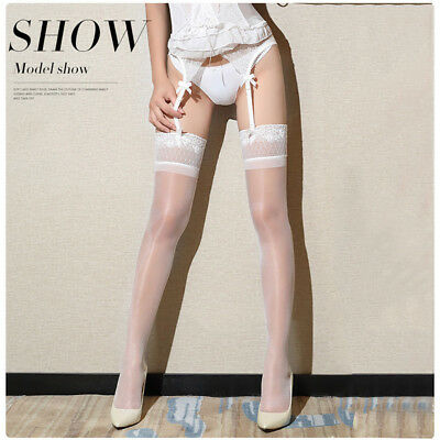 Women Oil Shiny Glossy High Stockings Lace Silicone Stay Up Thigh-Highs Hosiery