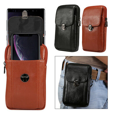 Soft Leather Men's Waist Bag Belt Clip Pouch Case Cover For Samsung Galaxy Phone
