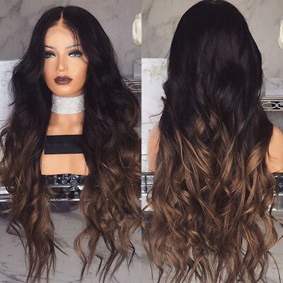 28'' Women Wavy Curly Long Hair Wig Blonde Brown Cosplay Party Ombre Synthetic