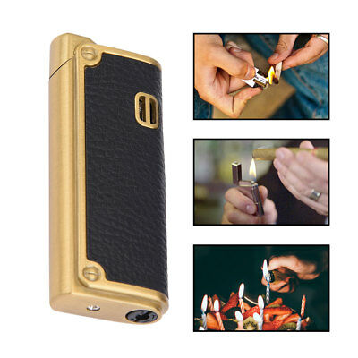 Business PU Leather Metal Windproof Inflatable Butane Gas Lighter Multifunction