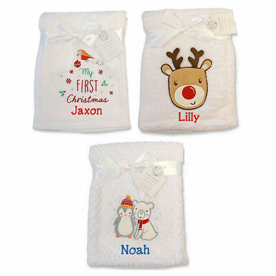 Personalised Rudolph Robin Babies First 1st Christmas Blanket Embroidered Gift