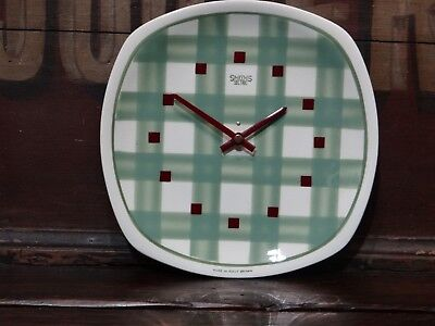 Smiths Sectric Green Gingham Pottery Wall Clock Vintage