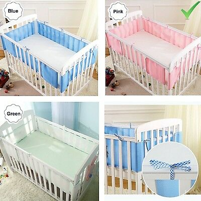 3 Colors Baby Cot Bumper Breathable Mesh Crib Liner Infant Bed Nursery Bedding