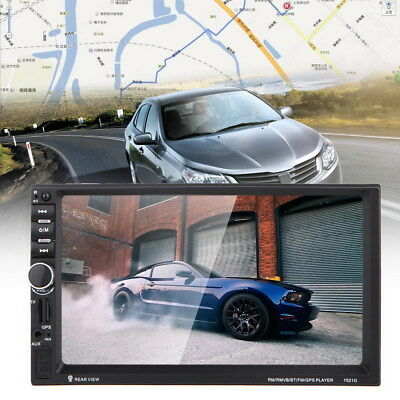 """7"""" HD Double 2Din Car Radio Bluetooth MP5 Player Touchscreen GPS+Rear View CAMER"""