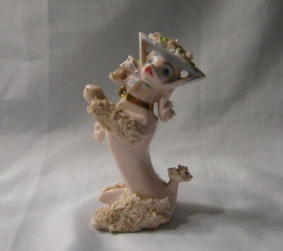 Vintage Arnart Creation Porcelain Pink Spaghetti Poodle Figurine Missing Parasol