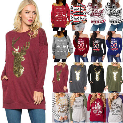 Women Christmas Ugly Sweater Hoodie Pullover T Shirt Blouse XMAS Tops Jumper Tee