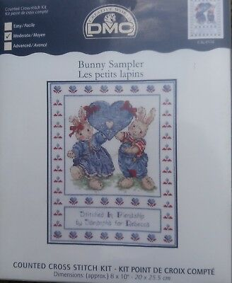 Bunny Sampler Cross Stitch Kit - DMC - Bunny with Heart - Ready to Personalise