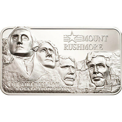 Mount Rushmore Liberty Bar Collection 2oz Proof Ag Coin 10$ Cook Islands 2018
