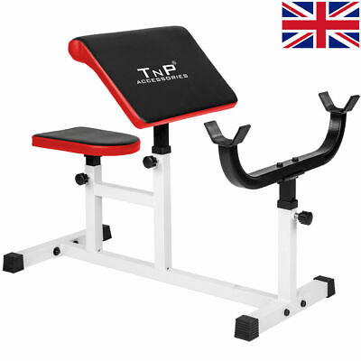Preacher Curl Weight Bench 4 Bicep Arm Gym Machine Adjustable Heavy Duty Workout
